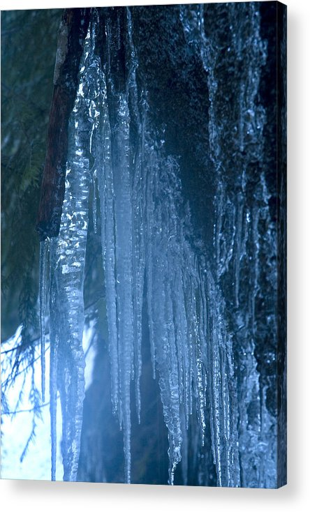 Blue; Close; Cold; Icicle Acrylic Print featuring the photograph Icicles 5 by John Higby