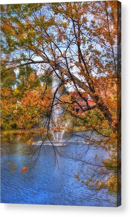 Nashua Acrylic Print featuring the photograph Nashua River Water Fountain - Nashua Nh by Joann Vitali