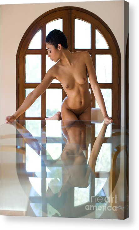 Sensual Acrylic Print featuring the photograph Reflection Time Again by Olivier De Rycke