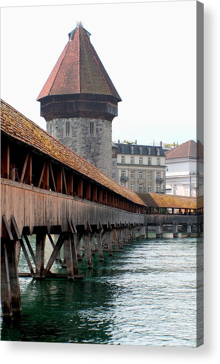 Lucerne Acrylic Print featuring the photograph The Kapellbrucke On The River Rueuss by Greg Sharpe