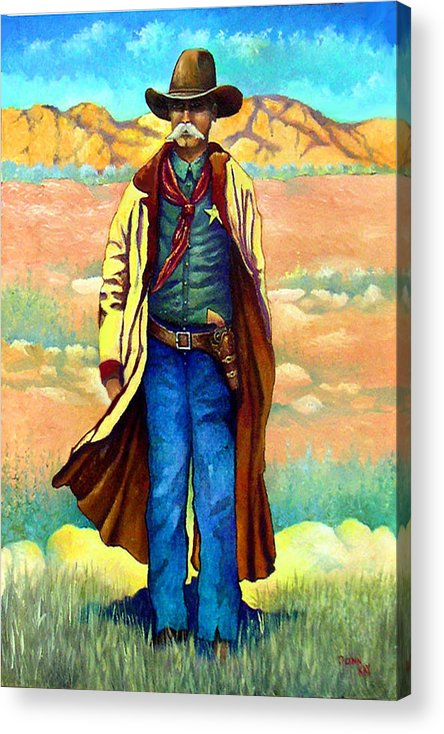 Western Art Lawman. Texas Sheriff Acrylic Print featuring the painting Town Marshall by Donn Kay