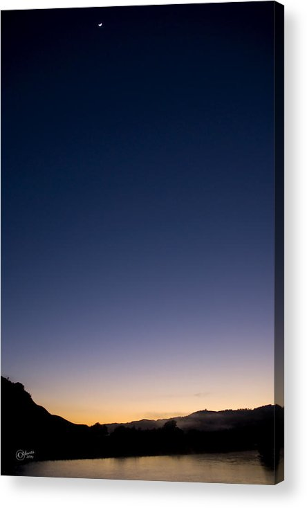 Sunrise Acrylic Print featuring the photograph When Lunar Met Solar by Andrea Cadwallader