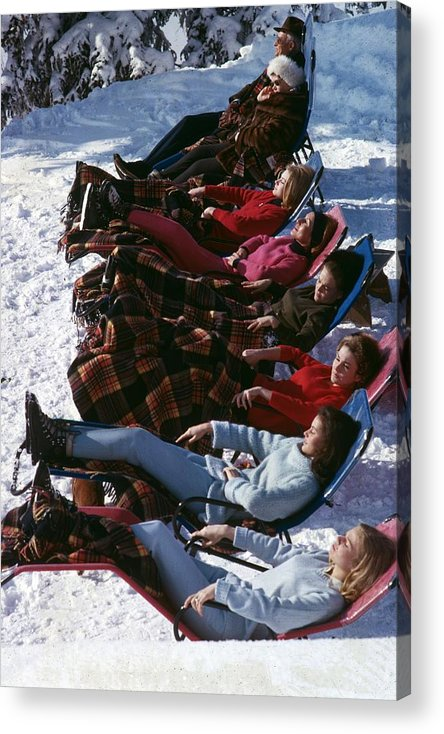 Gstaad Acrylic Print featuring the photograph Winter Suntans by Slim Aarons