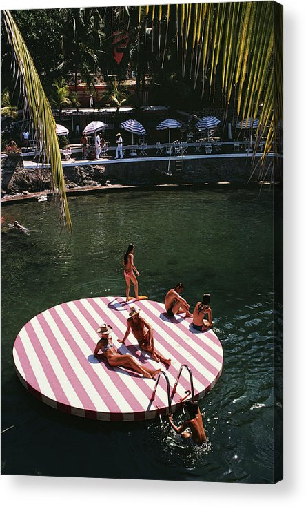 People Acrylic Print featuring the photograph La Concha Beach Club by Slim Aarons