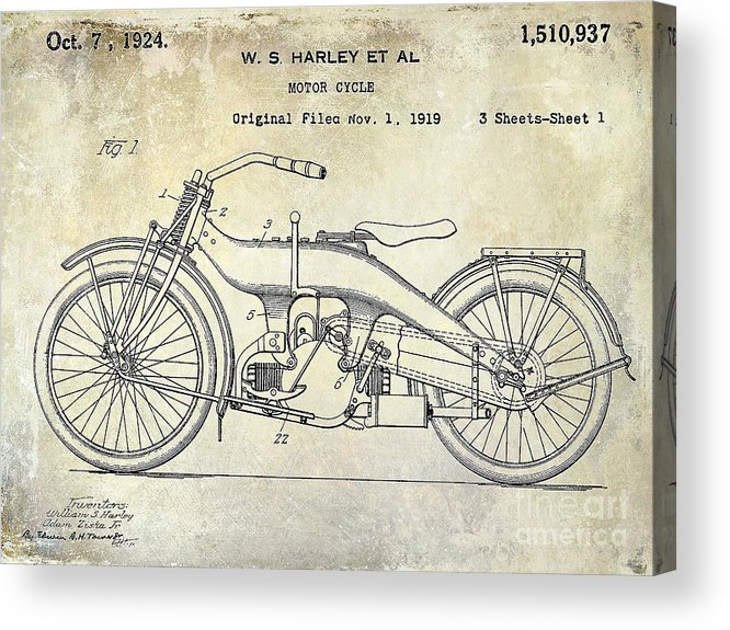 Harley Davidson Patent Drawing Acrylic Print featuring the photograph 1924 Harley Davidson Motorcycle Patent by Jon Neidert