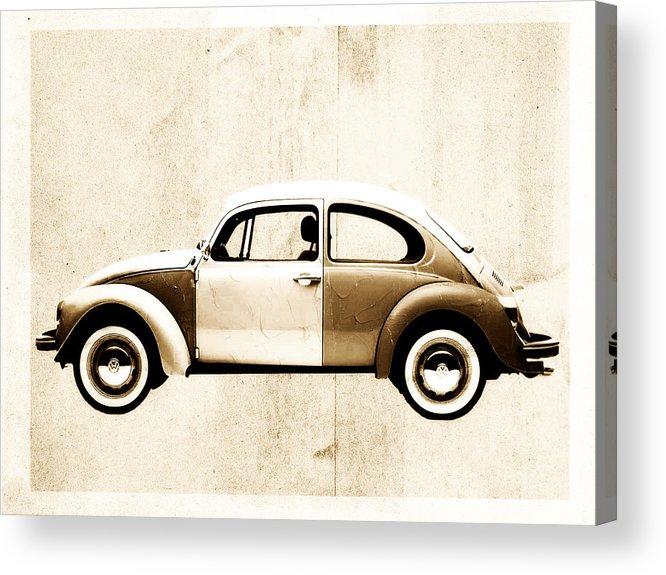 Beetle Acrylic Print featuring the digital art Beetle Car by David Ridley
