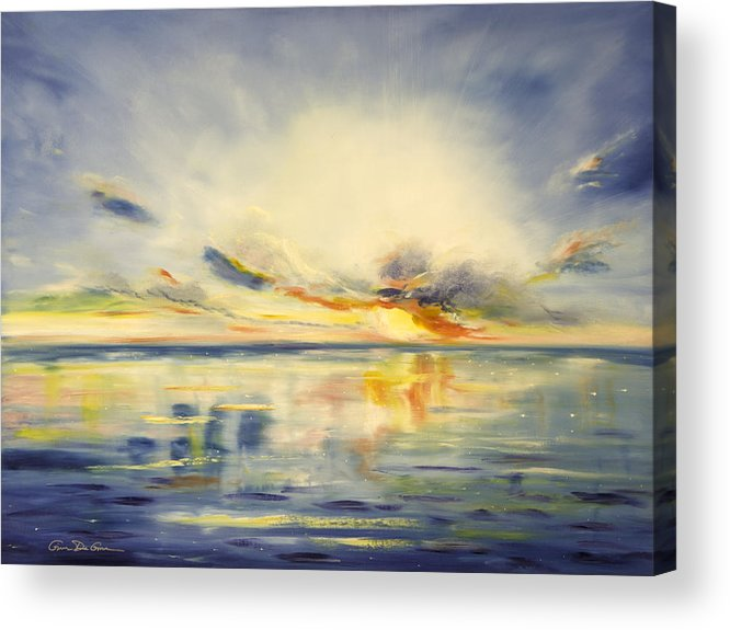 Blue Acrylic Print featuring the painting Blue Sunset by Gina De Gorna