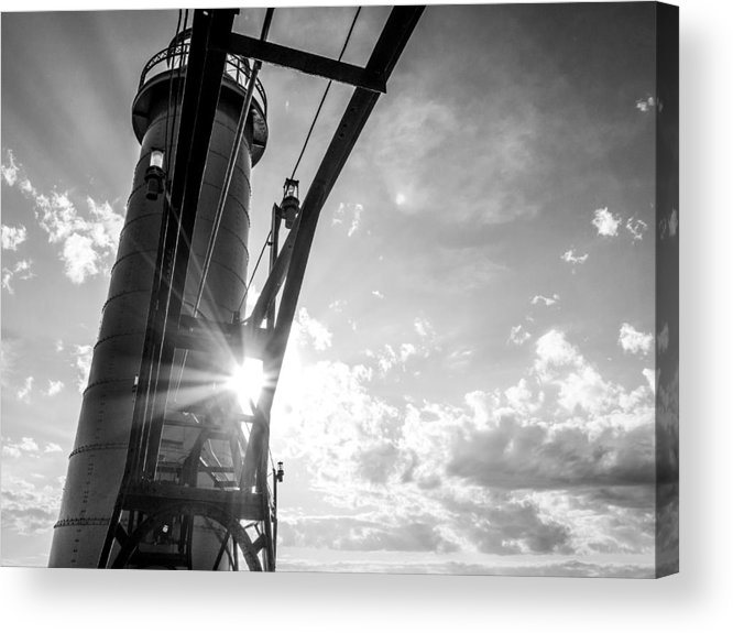 Grand Haven Acrylic Print featuring the photograph Grand Haven Beacon At Sunset by Kirsten Dykstra