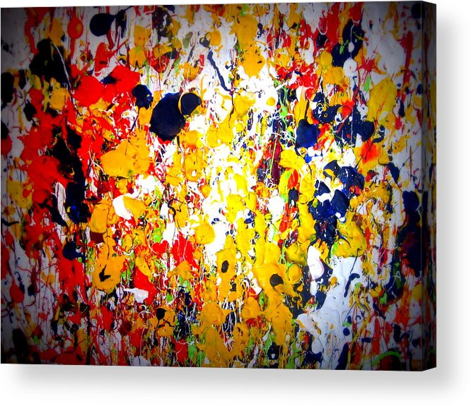 Art Acrylic Print featuring the painting Modern Abstract Painting Original Canvas Art Wild By Zee Clark by Zee Clark