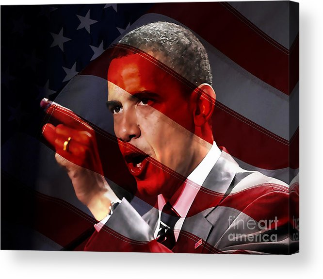 President Barack Obama Paintings Mixed Media Mixed Media Acrylic Print featuring the mixed media President Barack Obama by Marvin Blaine