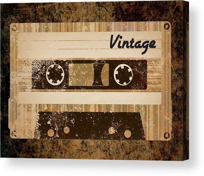 Vintage Acrylic Print featuring the digital art Vintage Cassette by Sara Ponte