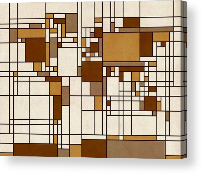 Cartography Acrylic Print featuring the digital art World Map Abstract Mondrian Style by Michael Tompsett