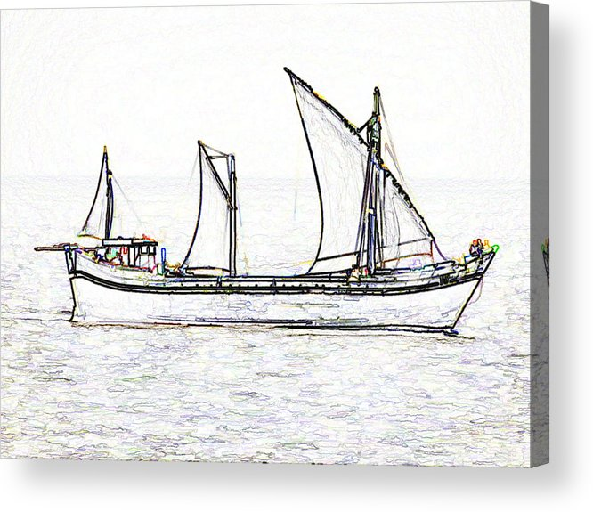 Action Acrylic Print featuring the digital art Fishing Vessel In The Arabian Sea by Ashish Agarwal