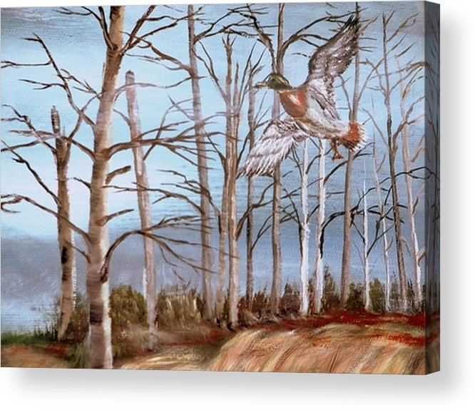 Birds Trees River Lake Landscape Painting Acrylic Print featuring the painting Birds Landing by Kenneth LePoidevin