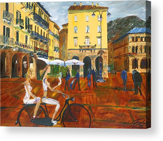 Italy Acrylic Print featuring the painting Piazza De Como by Gregory Allen Page