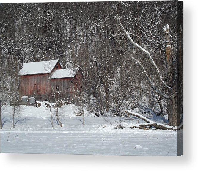 Elkader Iowa Acrylic Print featuring the photograph Winter Farm by Bonfire Photography