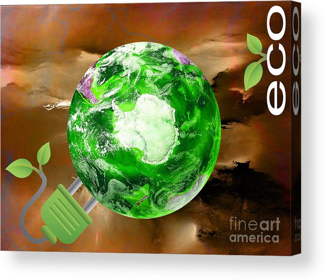 Eco Acrylic Print featuring the mixed media eco by Marvin Blaine