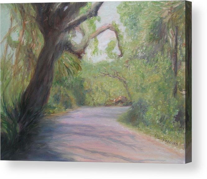 Plantation Acrylic Print featuring the painting Kingsley Plantation Road by Patty Weeks