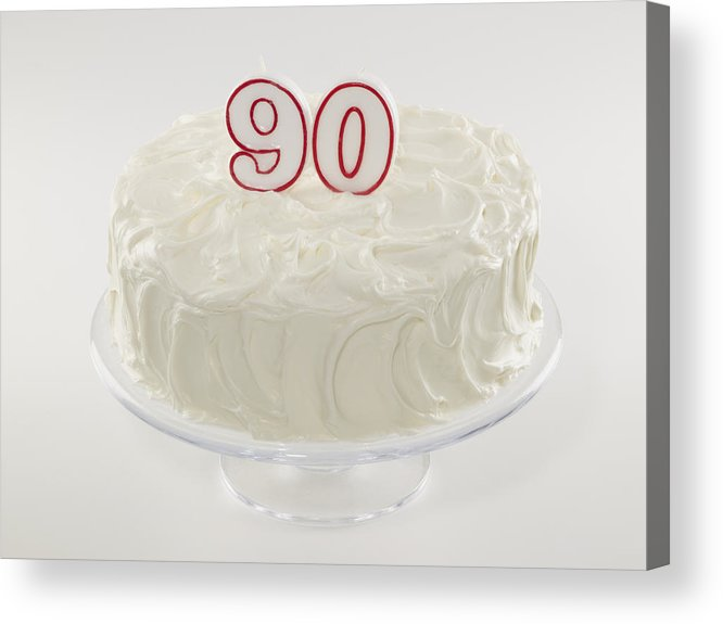 White Background Acrylic Print Featuring The Photograph 90th Birthday Cake By Jupiterimages