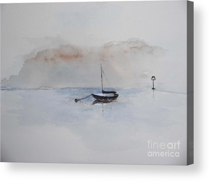 Boat Acrylic Print featuring the painting A Blue Mooring by Sibby S