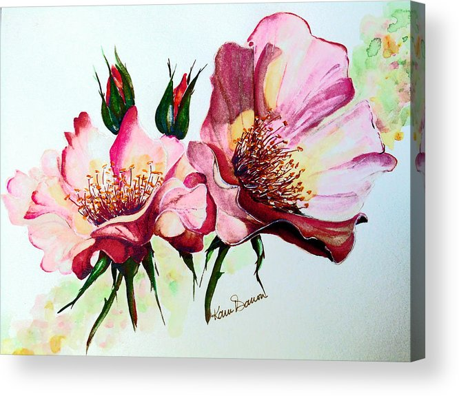 Flower Painting Acrylic Print featuring the painting A Rose Is A Rose by Karin Dawn Kelshall- Best