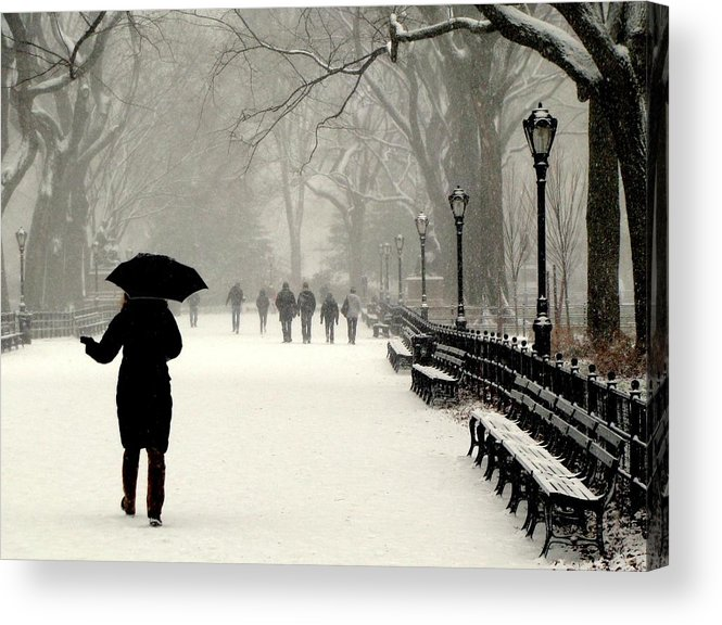 New York Acrylic Print featuring the photograph A Winter Stroll by Jeff Watts
