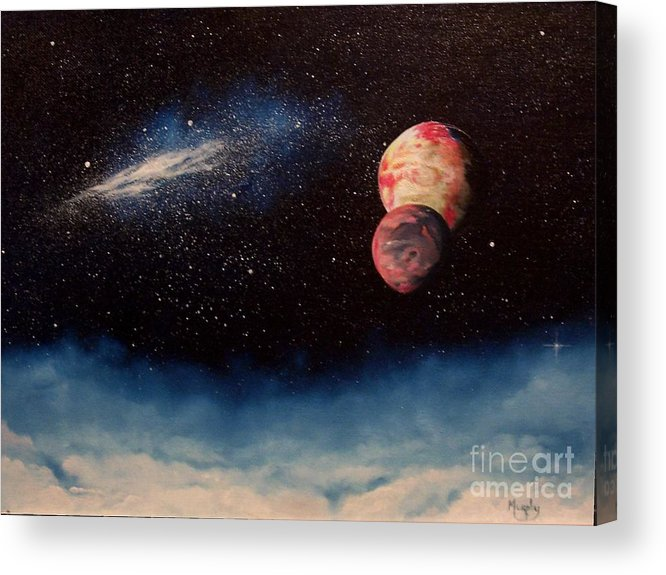 Landscape Acrylic Print featuring the painting Above Alien Clouds by Murphy Elliott