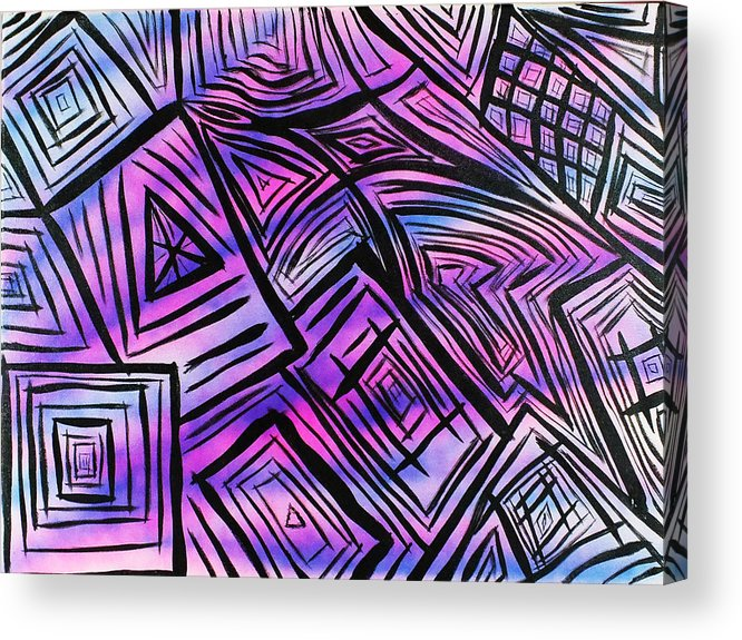 Blue Acrylic Print featuring the painting Abstract-04 by Frank Carter