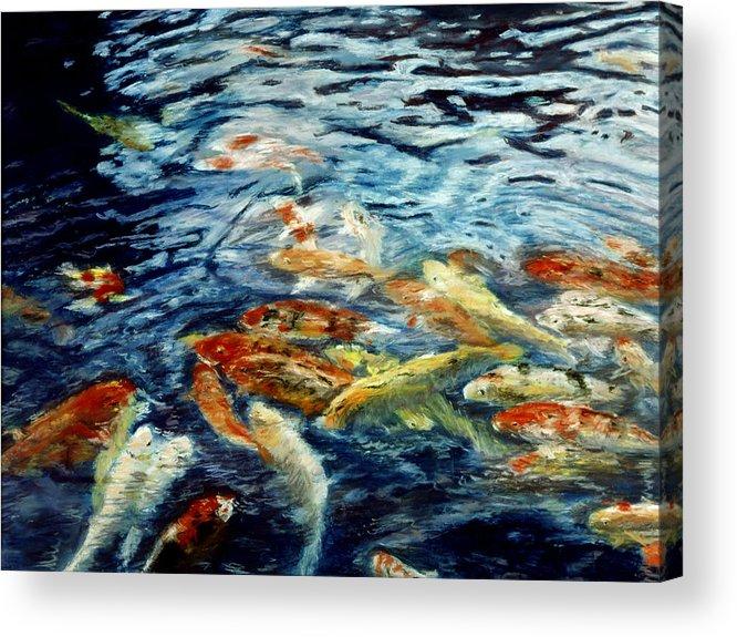 Fish Acrylic Print featuring the pastel Abundance by Nancy Yang
