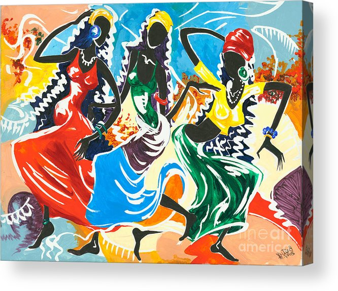 Canvas Prints Acrylic Print featuring the painting African Dancers No. 2 by Elisabeta Hermann
