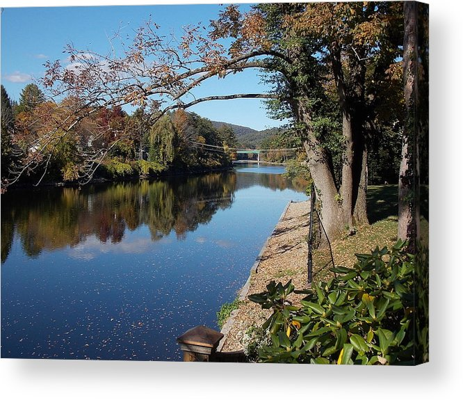 Along Acrylic Print featuring the photograph Along The River In Shelbourne Falls by Nina Kindred