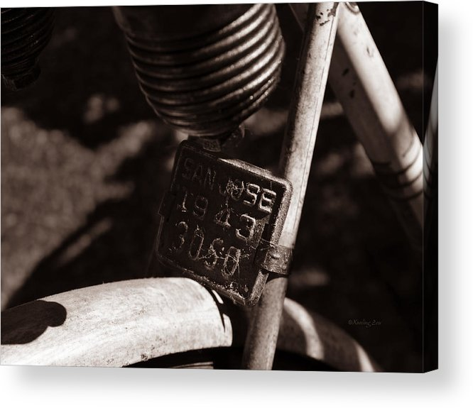 Bicycle Acrylic Print featuring the photograph An Old Rusty Bicycle by Xueling Zou
