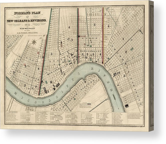 picture about Printable Map of New Orleans known as Antique Map Of Fresh new Orleans As a result of Balduin Mollhausen - 1845 Acrylic Print