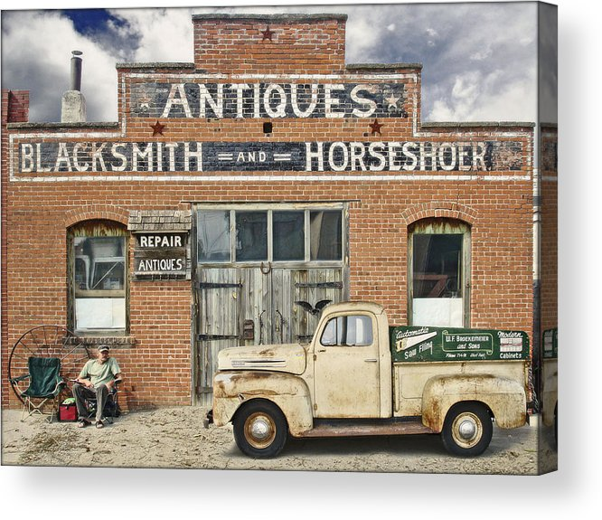 Storefront Acrylic Print featuring the photograph Antiques Blacksmith And Horseshoer by John Anderson