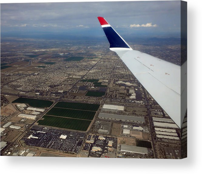 Phoenix Acrylic Print featuring the photograph Approaching Phoenix Az Wing Tip View by Thomas Woolworth