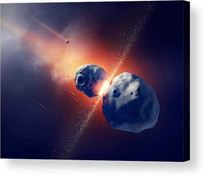 Asteroid Acrylic Print featuring the photograph Asteroids Collide And Explode In Space by Johan Swanepoel