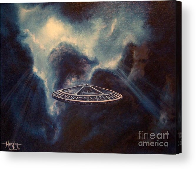 Si-fi Acrylic Print featuring the painting Atmospheric Arrival by Murphy Elliott