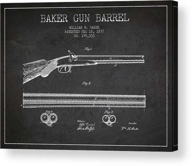 Pistol Patent Acrylic Print featuring the digital art Baker Gun Barrel Patent Drawing From 1877- Dark by Aged Pixel