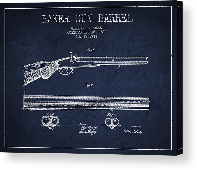 Pistol Patent Acrylic Print featuring the digital art Baker Gun Barrel Patent Drawing From 1877- Navy Blue by Aged Pixel