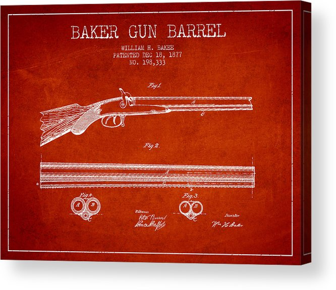 Pistol Patent Acrylic Print featuring the digital art Baker Gun Barrel Patent Drawing From 1877- Red by Aged Pixel