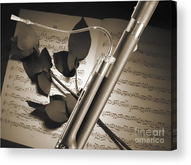 Bassoon Music Instrument Photograph In Sepia 3406 01 Acrylic Print