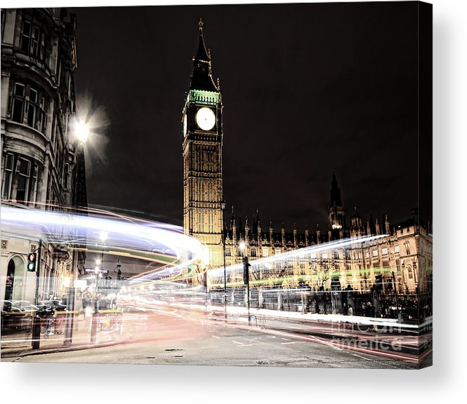 Big Ben Acrylic Print featuring the photograph Big Ben With Light Trails by Jasna Buncic