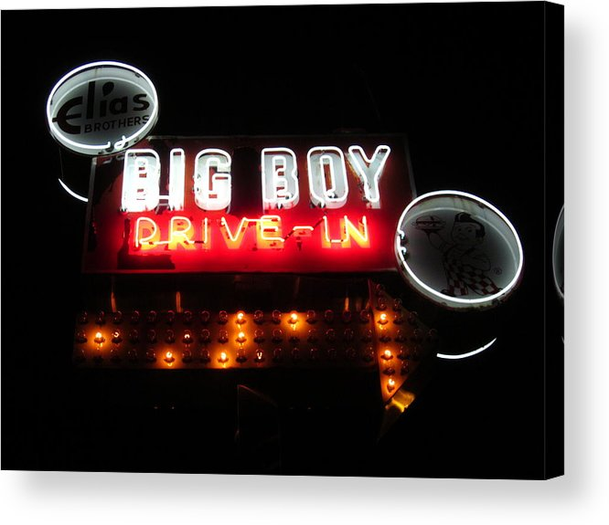 Business Acrylic Print featuring the photograph Big Boy Drive-in At Night by Guy Ricketts