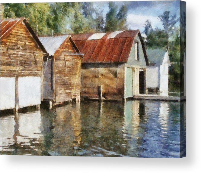 Boat Houses Acrylic Print featuring the photograph Boathouses On The Torch River Ll by Michelle Calkins