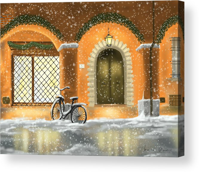 Red Acrylic Print featuring the painting Bologna by Veronica Minozzi
