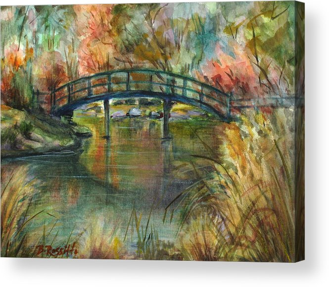Bridge Acrylic Print featuring the painting Bridge At The Botanical Gardens by B Rossitto