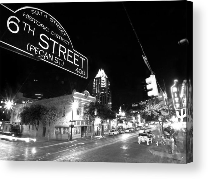 Austin Acrylic Print featuring the photograph Bright Lights At Night by John Gusky