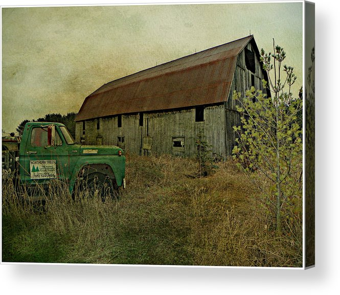 Old Barn Abandoned Truck Farm Field Pasture Country Rural Northern Ontario Canada Acrylic Print featuring the photograph Broken Things To Mend by Dianne Lacourciere