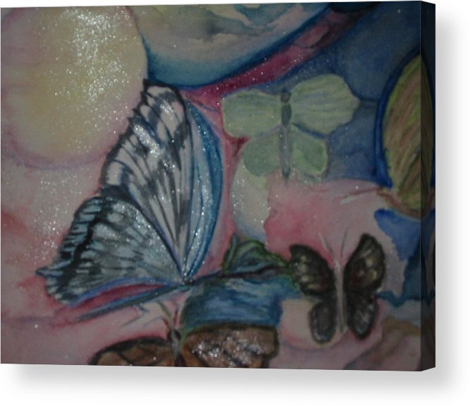 Watercolor Butterflies Acrylic Print featuring the painting Butterflies And Spheres by Marian Hebert