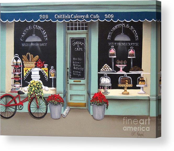 Art Acrylic Print featuring the painting Caitlin's Cakery And Cafe by Catherine Holman